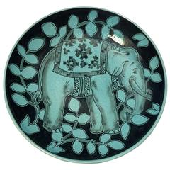 One-of-a-kind Karlsruhe Majolica art ceramic Elephant Plate Black Turquoise
