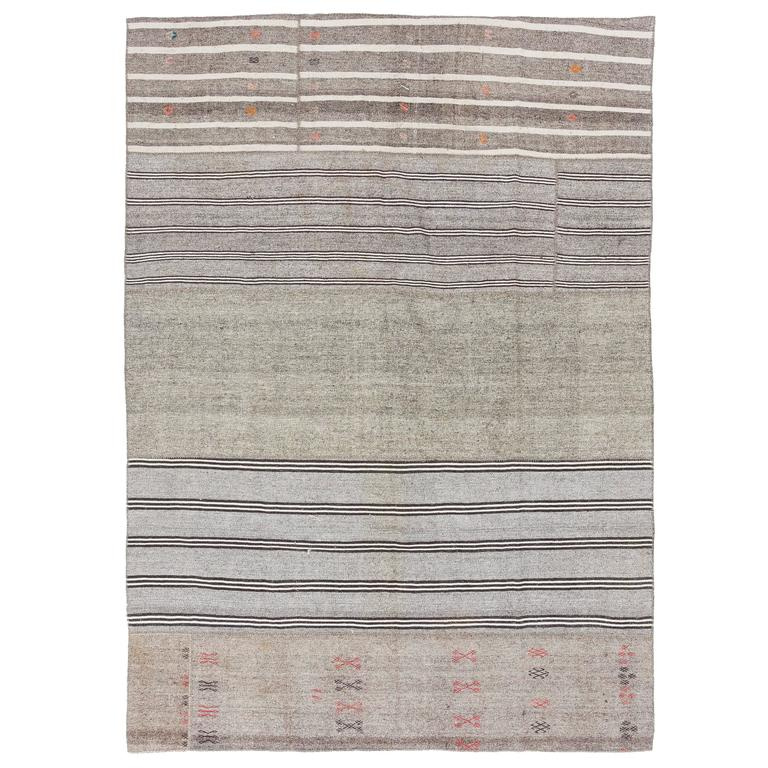 Cotton and Goat Hair Nomadic Kilim Rug For Sale