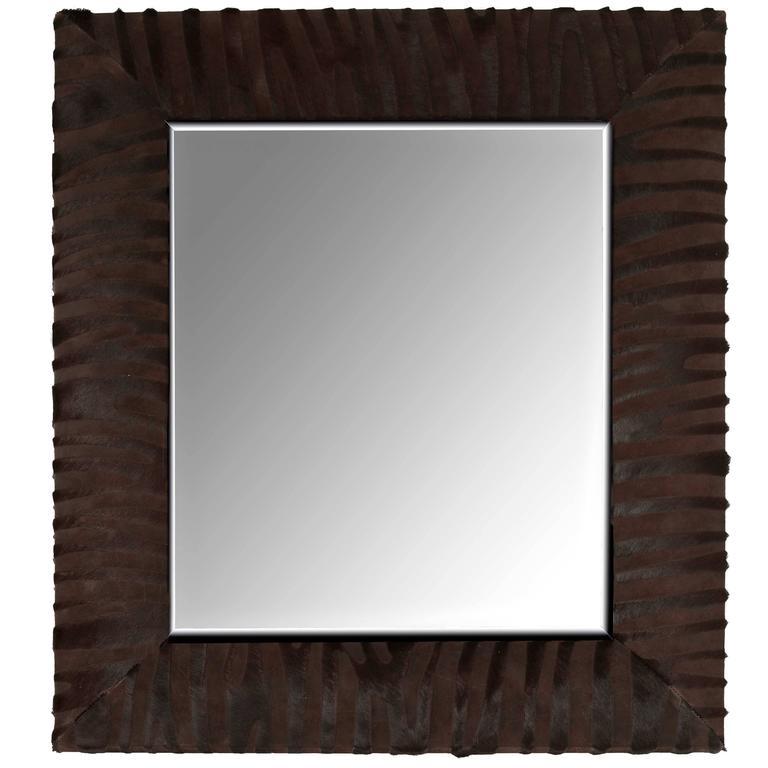 Contemporary Laser Cut Zebra Pattern Cowhide Mirror by KLASP Home