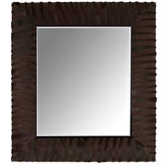 Contemporary Laser Cut Zebra Pattern Cowhide Mirror by KLASP Home