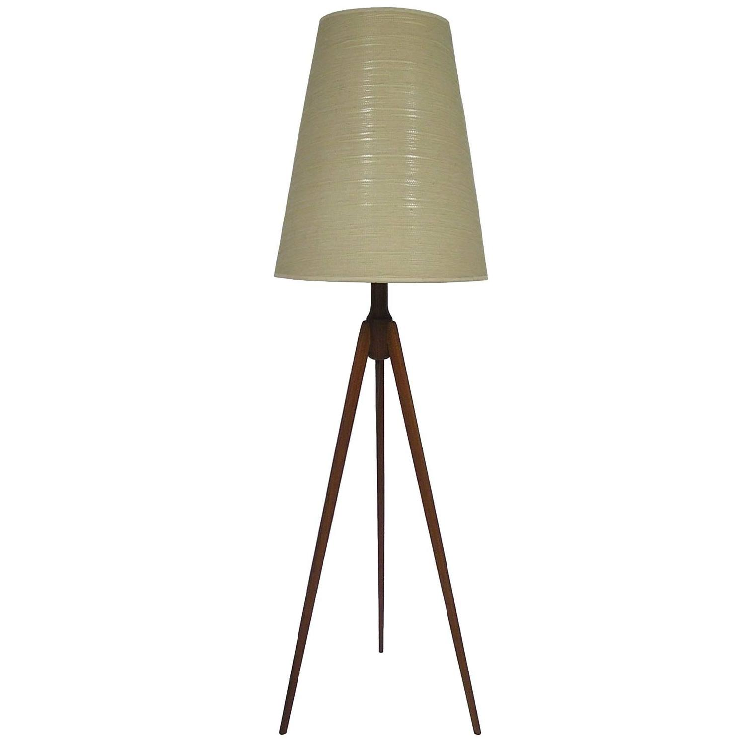 1950s teak mid century modern tripod floor lamp denmark for 1950 floor lamp