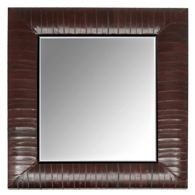 Contemporary Genuine Chocolate Brown Eel Skin Framed Beveled Mirror by KLASP  1