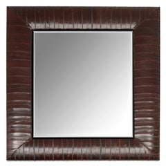 Contemporary Genuine Chocolate Brown Eel Skin Framed Beveled Mirror by KLASP