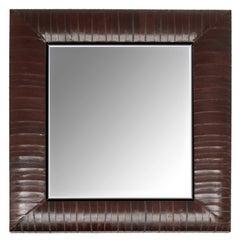 Zeitgenössischer Spiegel von KLASP in schokoladenbraunem Aalhaut-Rahmen