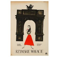 Roman Holiday Original Polish Film Poster by Jerzy Flisak, 1959