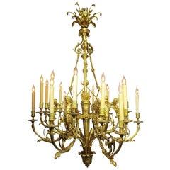 A French Belle Époque 19th-20th Century 18-Light Gilt Bronze Cherub Chandelier