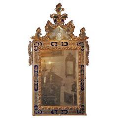 Glittering 18th Century Venetian Cobalt Blue Glass and Parcel-Gilt Mirror