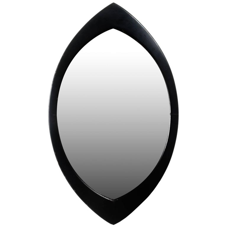 Swedish Mirror by Hans Agne Jakobsson with Black Oval Beveled Wood Frame, 1950s