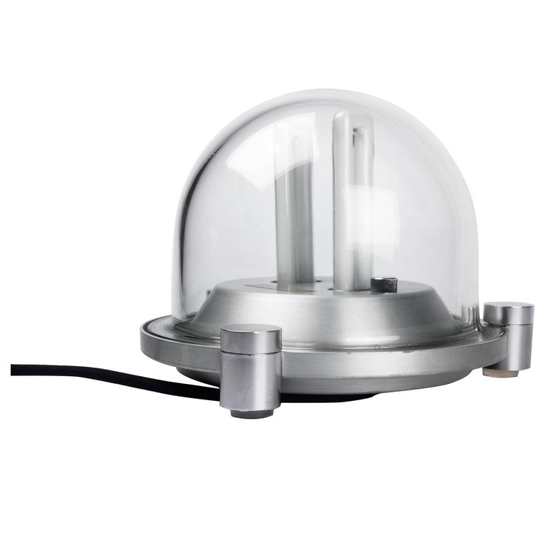 Italian Table Lamp by Elio Martinelli with Glass Dome and Aluminum Base, 1980s