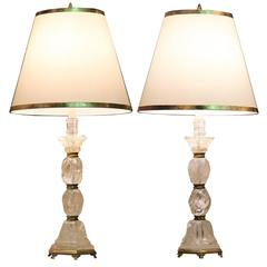 Pair of Baroque Style Rock Crystal Candlesticks Now Converted to Table Lamps