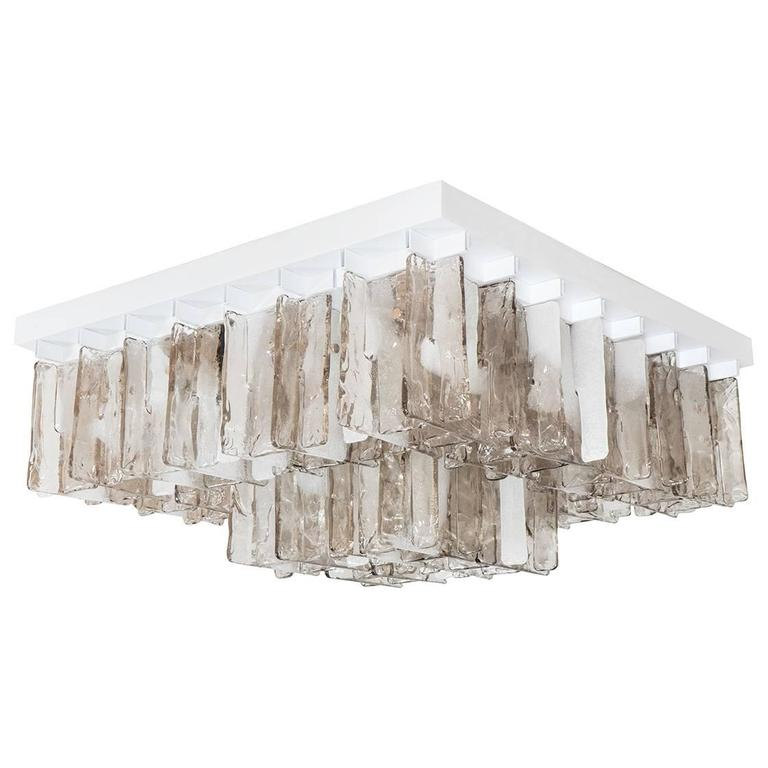 Smoked and Clear Glass Flush Mount Fixture For Sale