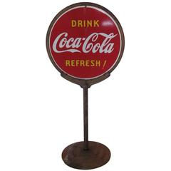 1930s Porcelain Coca Cola Two-Sided Lollipop Sign