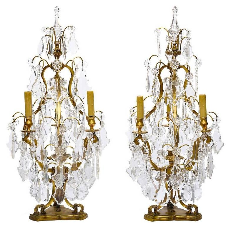 Pair of 19th-20th Century Louis XV Style Gilt Bronze and Cut-Glass Girandoles