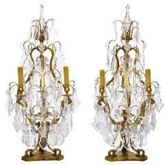 Pair French 19th-20th Century Louis XV Style Gilt Bronze & Cut-Glass Table Lamps