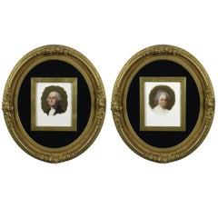 Fine Pair of 19th Century Porcelain Plaques of George and Martha Washington