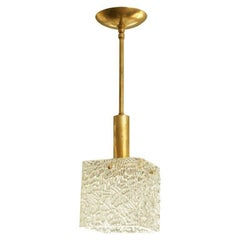 Square Textured Glass Pendant Ceiling Fixture with Brass Accents by Kalmar