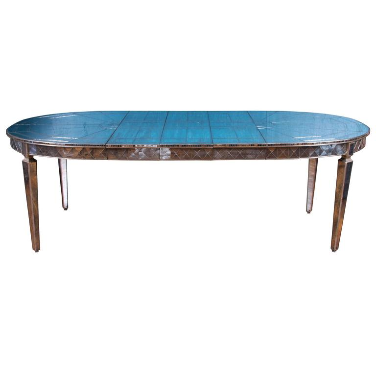 Hollywood Regency Fully Mirrored Extension Dining Table At 1stdibs