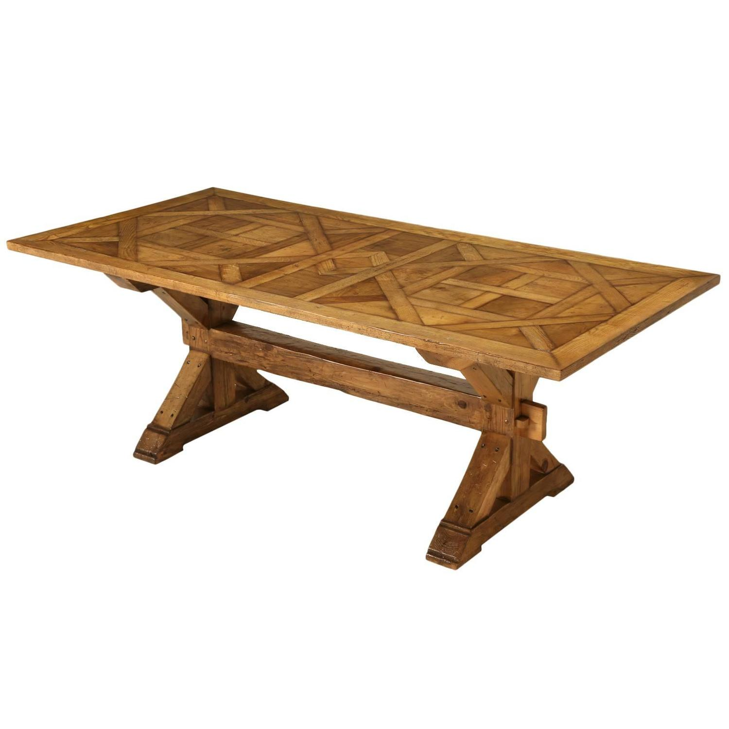 parquet dining table style parquet trestle dining table for at 1stdibs 1416