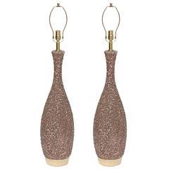 Pair of Italian Lava Glazed Lamps