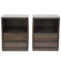Custom Stained Brown/Grey Night Stands by Robsjohn-Gibbings