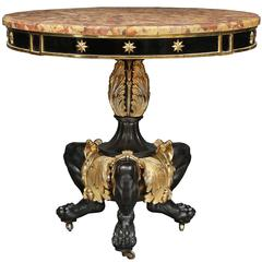 French 19th Century Wiliam IV Period Patinated Bronze and Ormolu Center Table