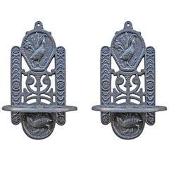 Antique Cast Iron Oil Lamp Stand, Pair