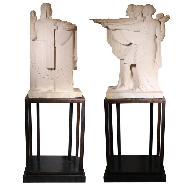 Pair Of Monumental Art Deco Movie Prop Sculptures For Sale At 1stdibs