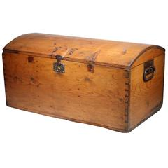 19th Century Wooden Trunk with Dovetail Joints