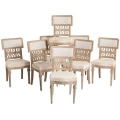 Eight Signed Swedish Gustavian Period Chairs, Lindome, circa 1780