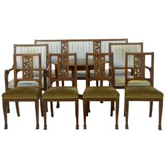 Early 20th Century Eight-Piece Carved Mahogany Salon Suite
