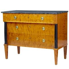 20th Century 1960s Golden Birch Marble-Top Chest of Drawers Commode