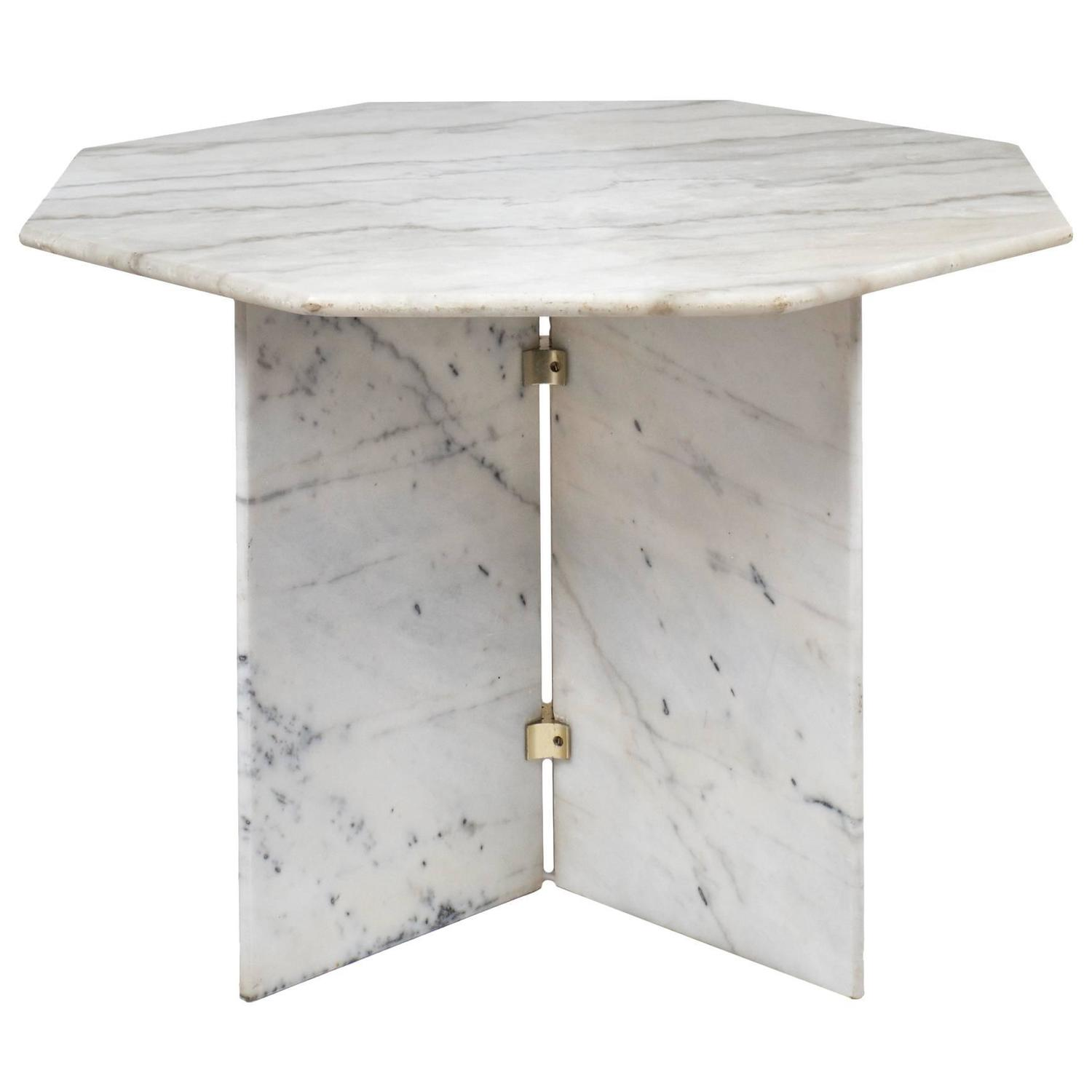 14E80 Vintage Solid Marble Dining Table E Org