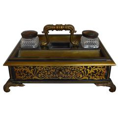 Antique Boulle Style Inkwell