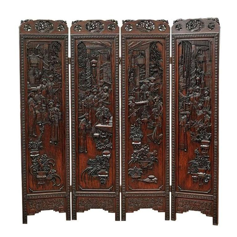 Chinese highly carved wood four panel screen divider at