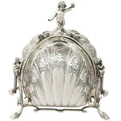 Italian Sterling Silver Triple Opening Biscuit Box, Contemporary, circa 2005
