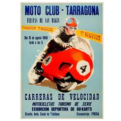 Original Vintage Motorcycle Racing Event Poster For The Moto Club Tarragona 1960