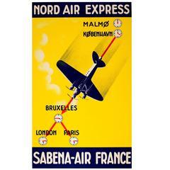 Nord Air Express Sabena Air France Poster