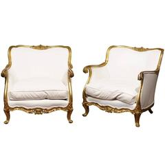 Pair of Italian Gilt Bergeres