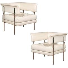 Pair of Italian Poltrona Frau Hydra Chairs, in Pelle Leather by Luca Scacchetti