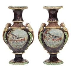 Thomas Victor Sergent Pair of Vases Mounted as Table Lamps