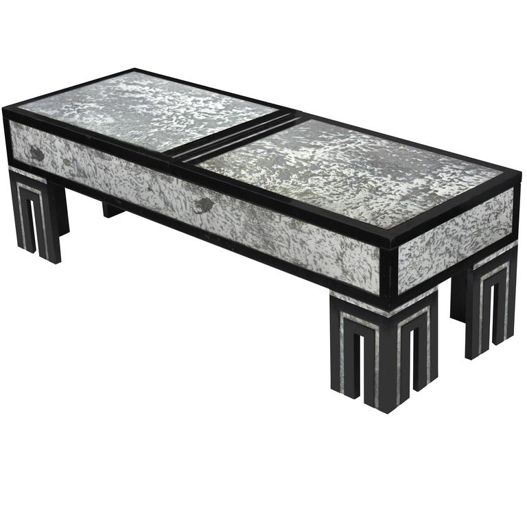 Ebonized Coffee Table with Mottled Antique Glass by James Mont For Sale