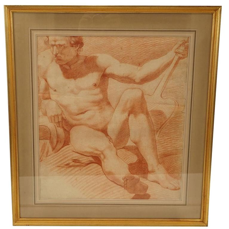 Fine Large Late 18th Century or Early 19th Century French Academic Drawing