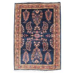 Early 19th Century Indigo Sarouk Carpet with Paisleys