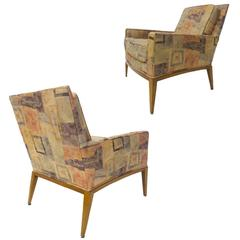 Pair of Sleek Curved Arm Harvey Probber Chairs