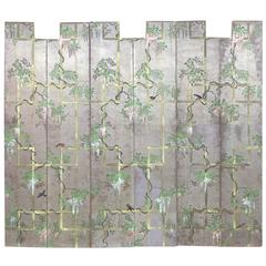 Six 1920s Hand-Painted Chinoiserie Wallpaper Screen Panels