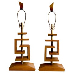 Pair of restored and wired James Mont Style Lamps