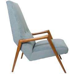 Scandinavian Modern Lounge Chair High Back Carved Fruit Wood
