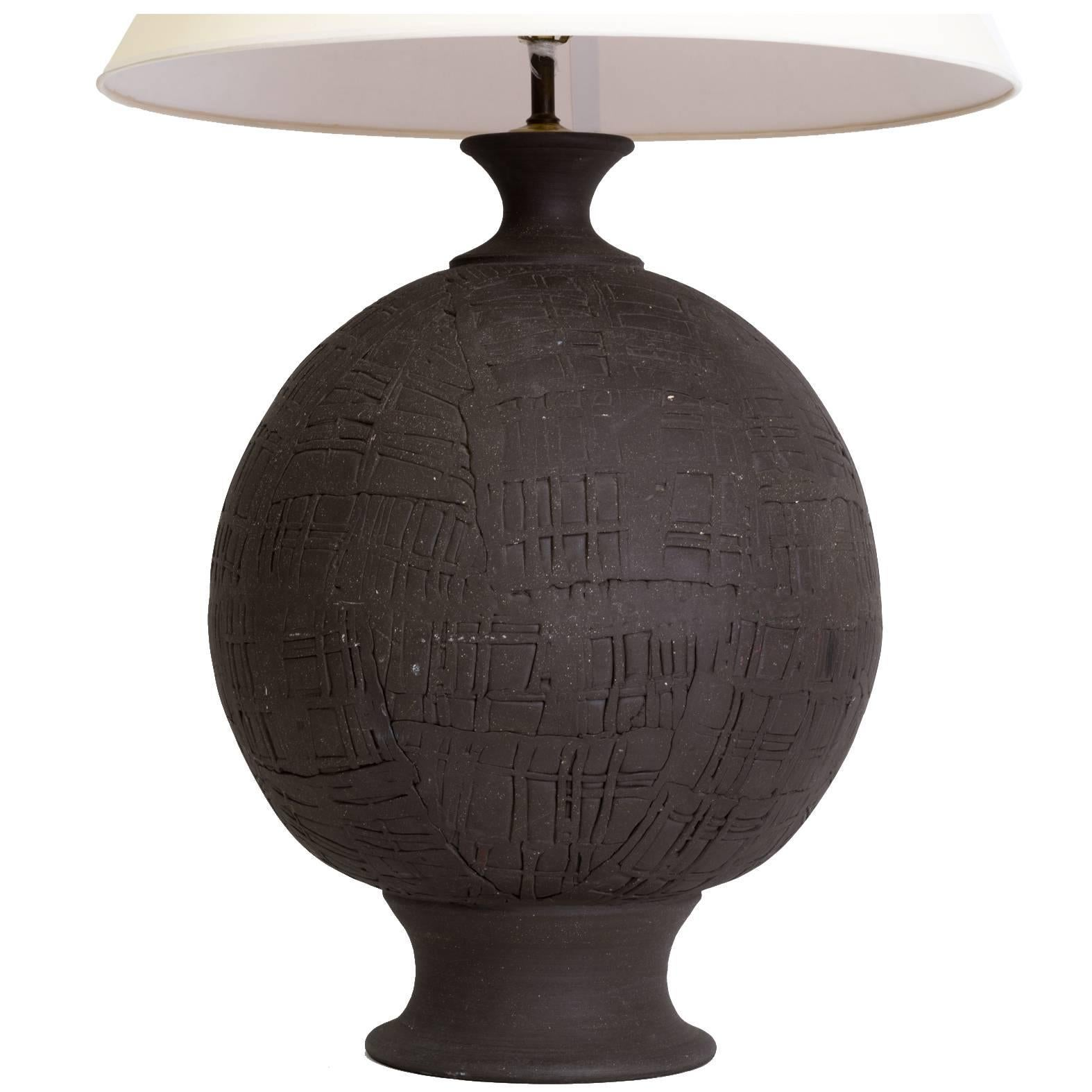 Monumental Hand Thrown Art Pottery Sphere Lamp
