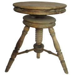 19th Century Adjustable Swedish Pine Music Stool