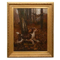 Large English 19th Century Oil Painting of Sporting Dog in Antique Gilt Frame
